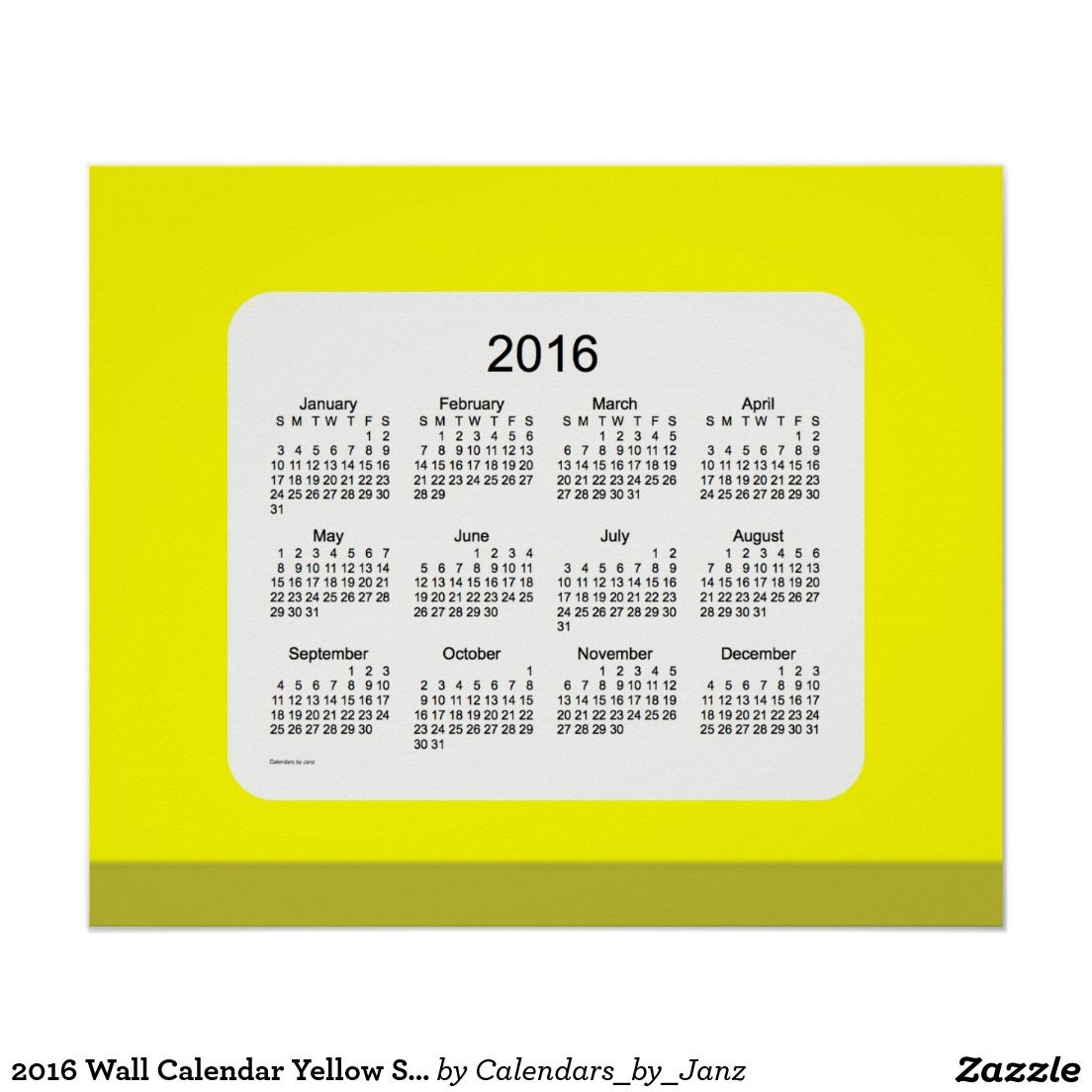 2016 Wall Calendar Yellow Shades Print | Christmas Gift Ideas ...