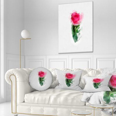 East Urban Home Floral Beautiful Rose With Leaves Drawing Throw Pillow Size 16 X 16 East Urban Home Beach Bedroom Decor
