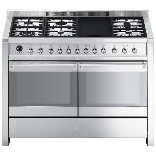 Smeg A4-8 Dual Fuel Range Cooker, Stainless Steel | Dual fuel range ...