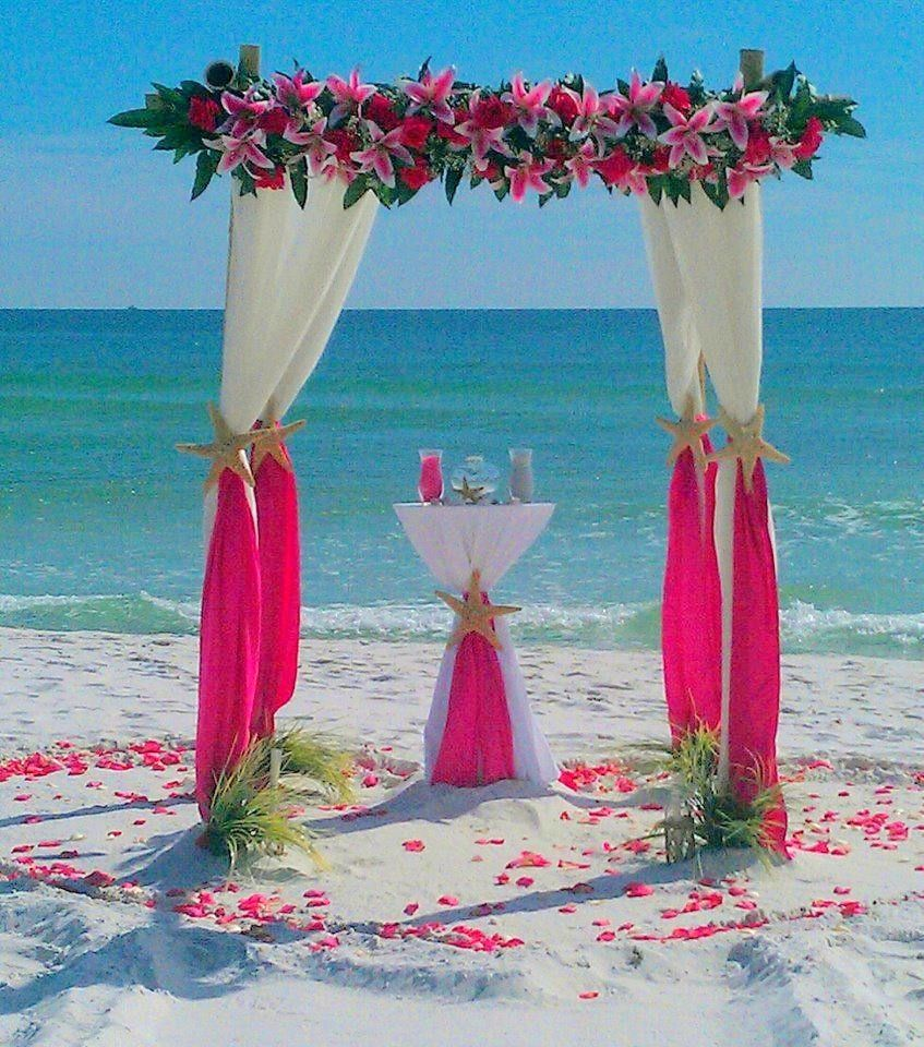 Destin Beach Weddings: Barefoot Bamboo 4 Post Arbor With Floral Topper & Unity