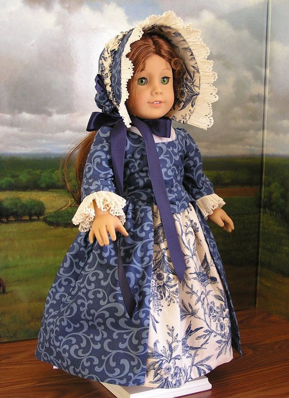 1770's dress for 18 doll by blinkersoh on Etsy