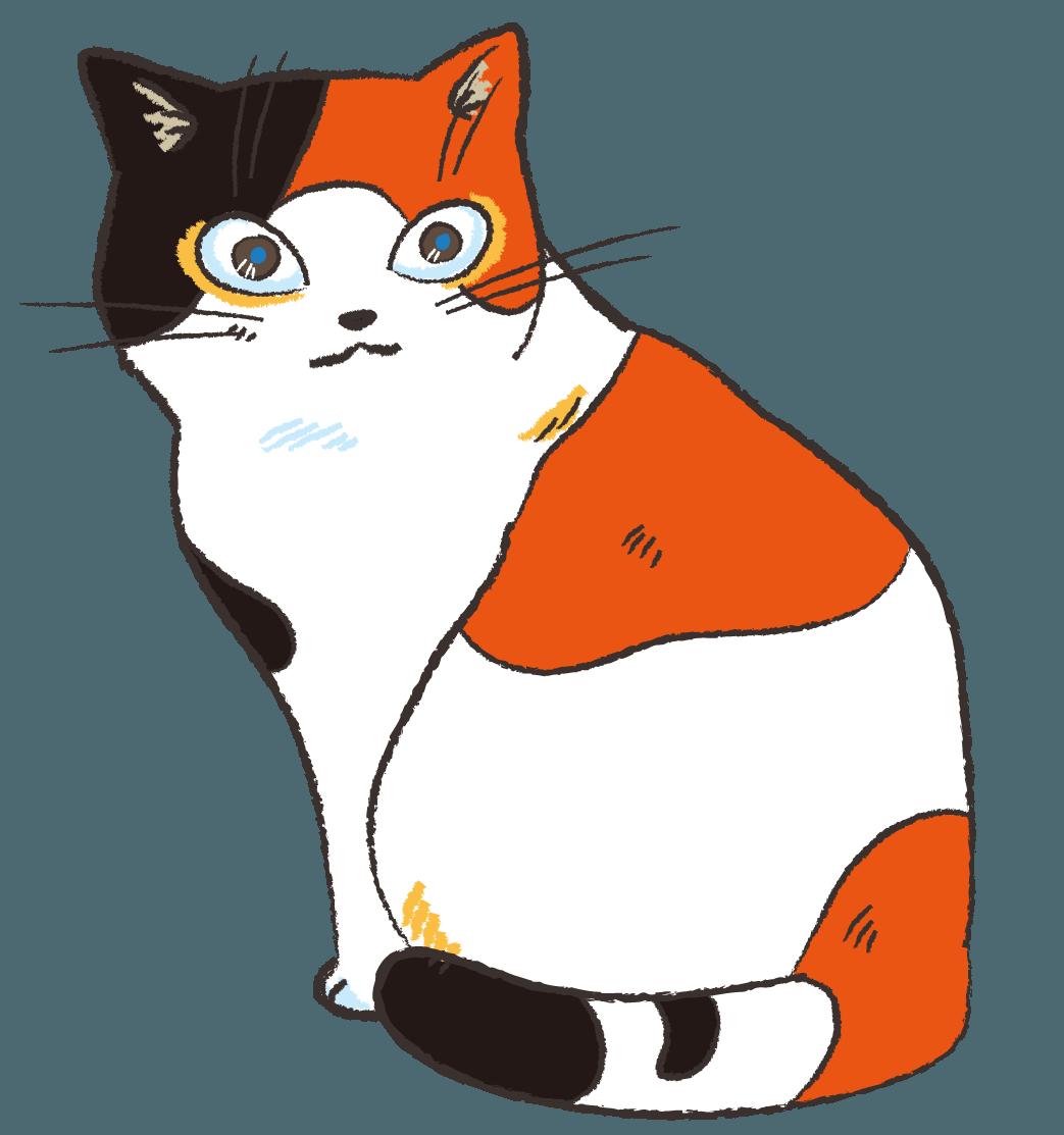 見返りネコ 振り返ってなにかを見ているネコ イラスト | gogon's