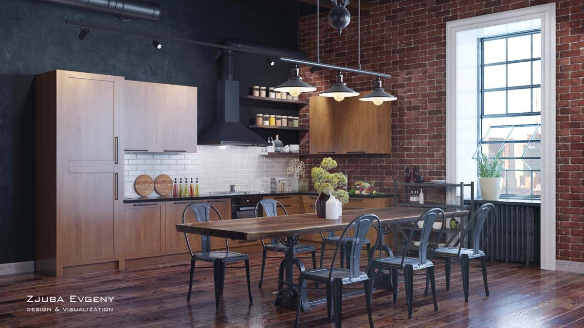Rich industrial style unites jewel colours with exposed brick walls