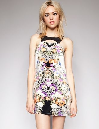 Cutout mirrored floral dress