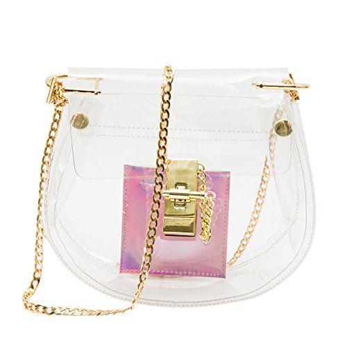 80774d78d3f6 Zarapack Women s Pvc Clear Bag Transparent Clutch with Inner Hologram Bag…