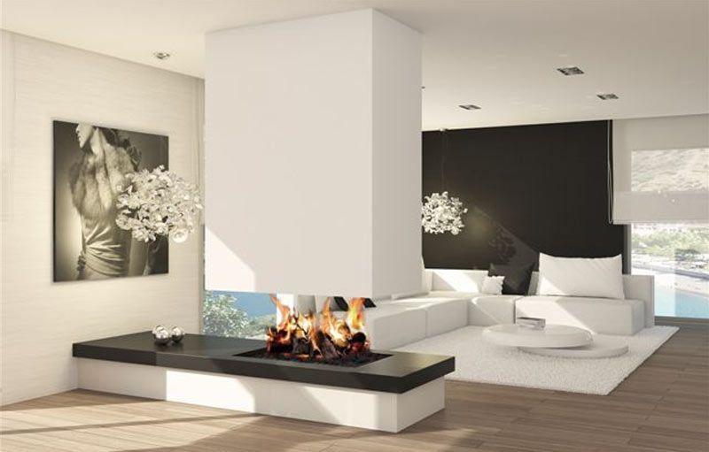 Chimenea montecarlo flotante chimenea chimeneas - Salones modernos con chimenea ...