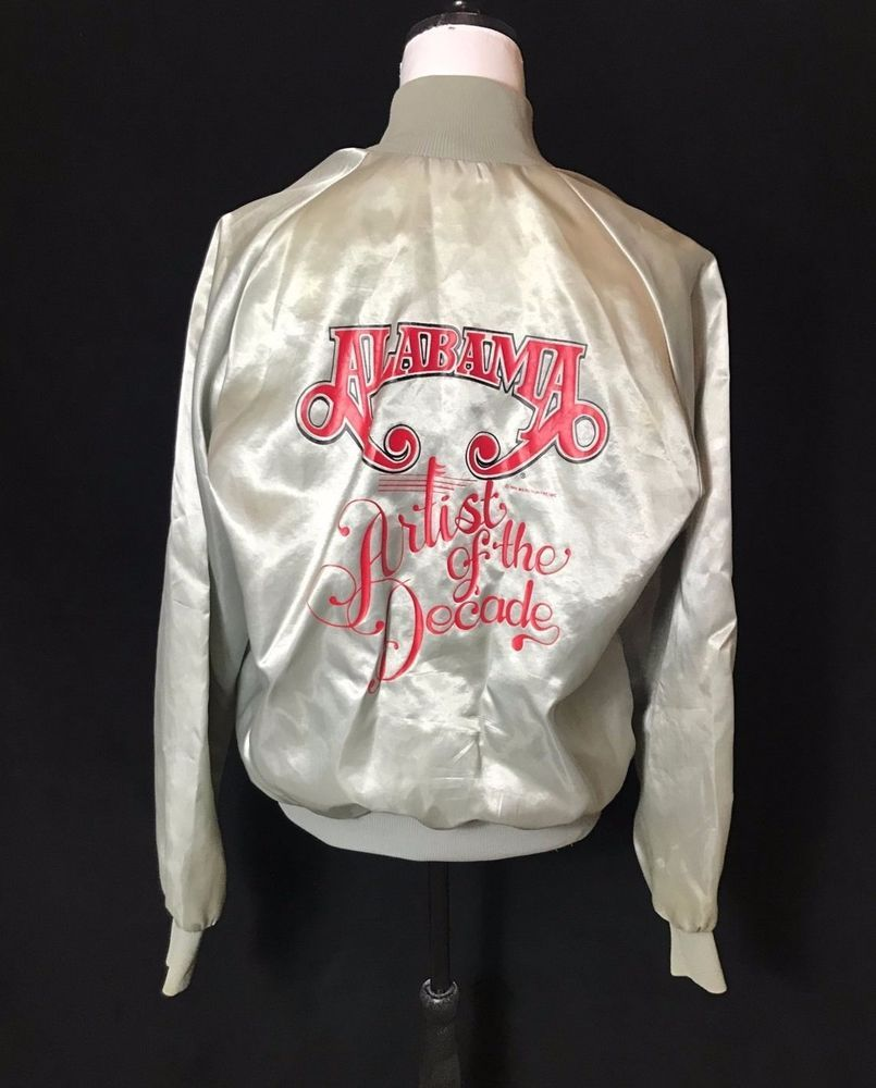 Leather jacket decade - Details About Vintage Alabama Band Artist Of The Decade Silver Satin Jacket Sz M Promo Usa