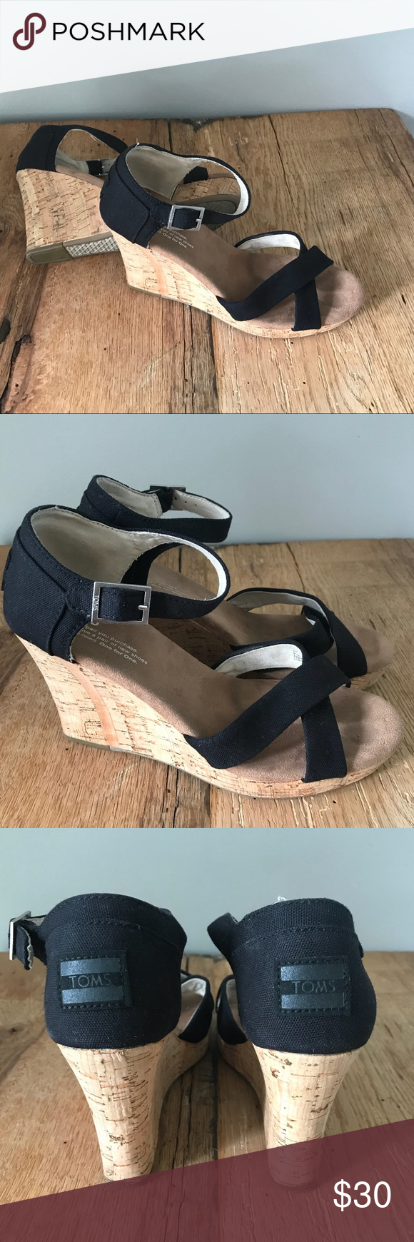 6b8ebd190d4 Toms Black Sienna Sandal Cork Wedge 7.5 Toms Good Condition Black Sandal  Cork Wedge. Love a Classic Toms shoe! Toms Shoes Sandals