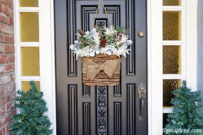 An Easy DIY Winter Wreath For After Christmas For Your Front Door Done With  A Versatile