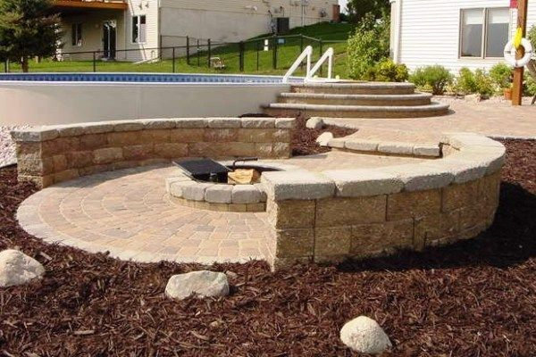 minnesota family enjoys new paver patio, pool and firepit | summer