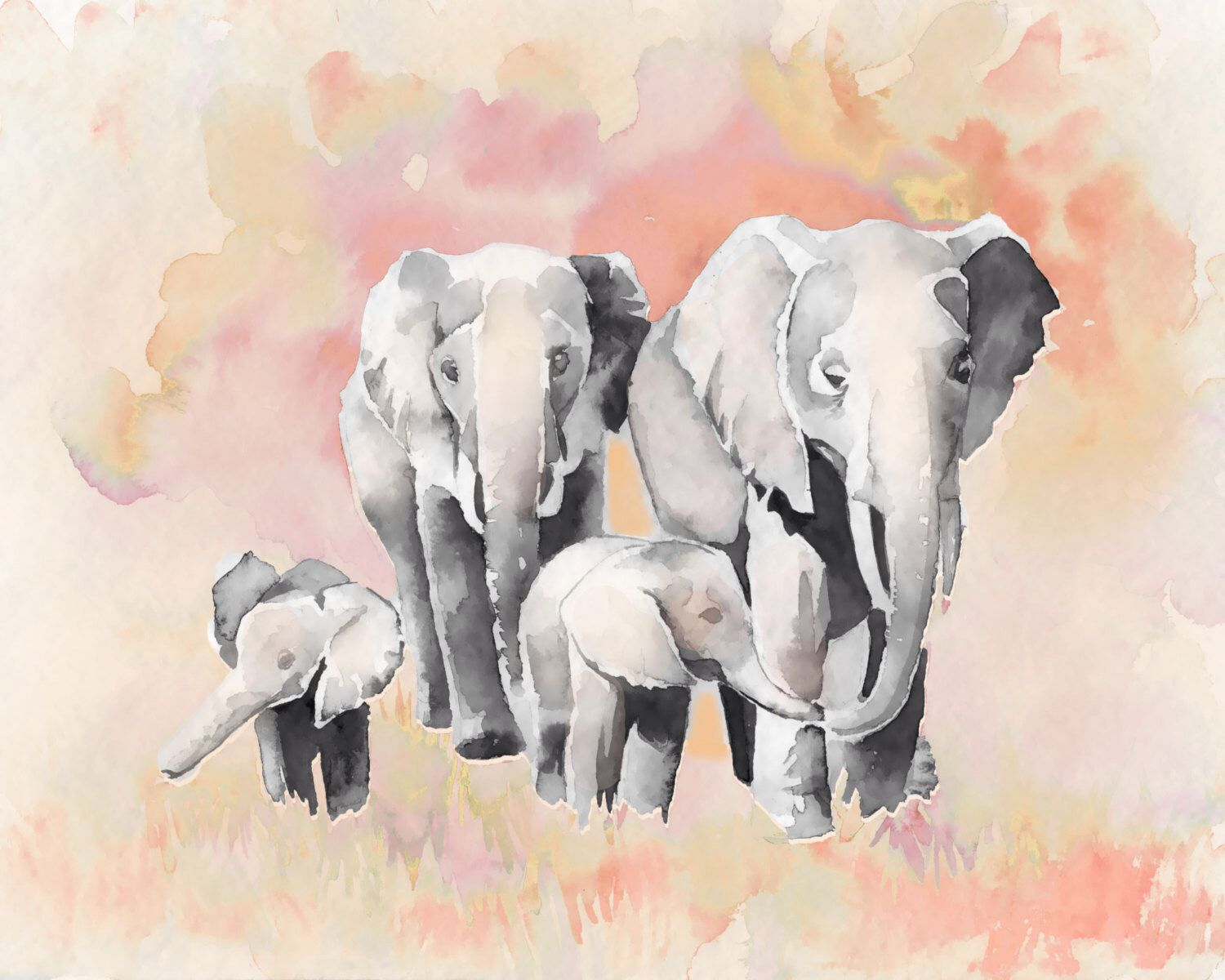 Elephant nursery wall art print mom baby dad by rizzleandrugee - Items Similar To Print Teal And Yellow Baby Zebra And Mom Print Of My Watercolor Painting Nursery Art Baby Room On Etsy
