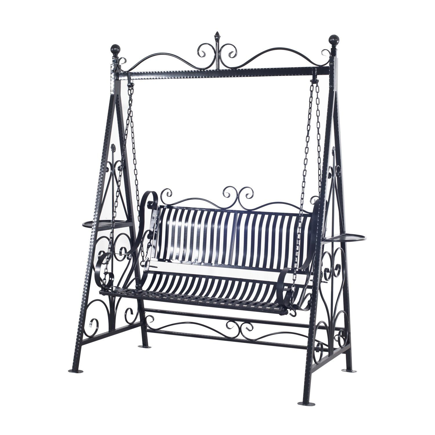 Outsunny Garden Metal Swing Chair Outdoor Patio Hammock Bench Cast