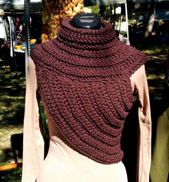 Funky cowl-vest, ladies vest, chunky crochet, knitted, warm ...