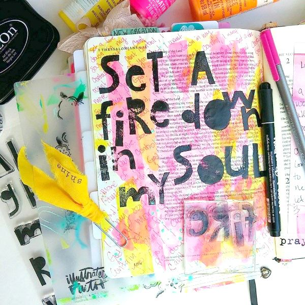 Amanda Cabrera | Set A Fire | Jesus Culture | Mixed Media Bible Art Journaling