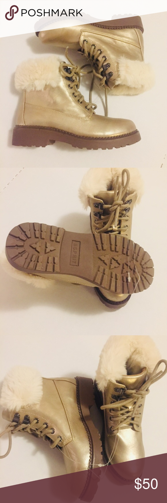 """Booties With Cream Fur Ankle Boots String Still Attached Never Worn Faux Leather Upper Round Toe Cushioned Footbed Approx 1.5""""Molded Block Heel Size 6 Shoes Ankle Boots & Booties"""