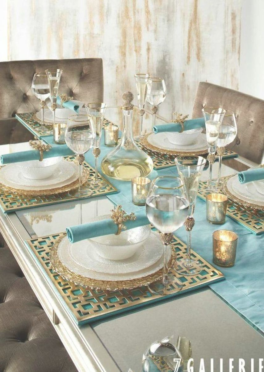 Turquoise Gold Dining Tablescape Gold Dining Table Setting Decor Gold Dining Room
