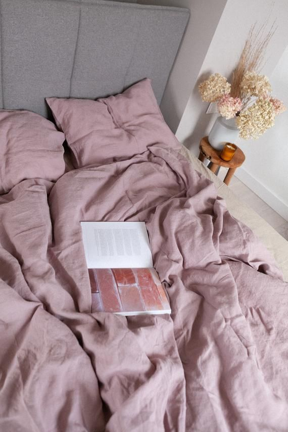 Photo of Linen Duvet Cover in Dusty Rose (Pink) / Stonewashed Linen Bedding / Soft Linen duvet cover / US Twin, Full, US Queen, US King, Euro sizes