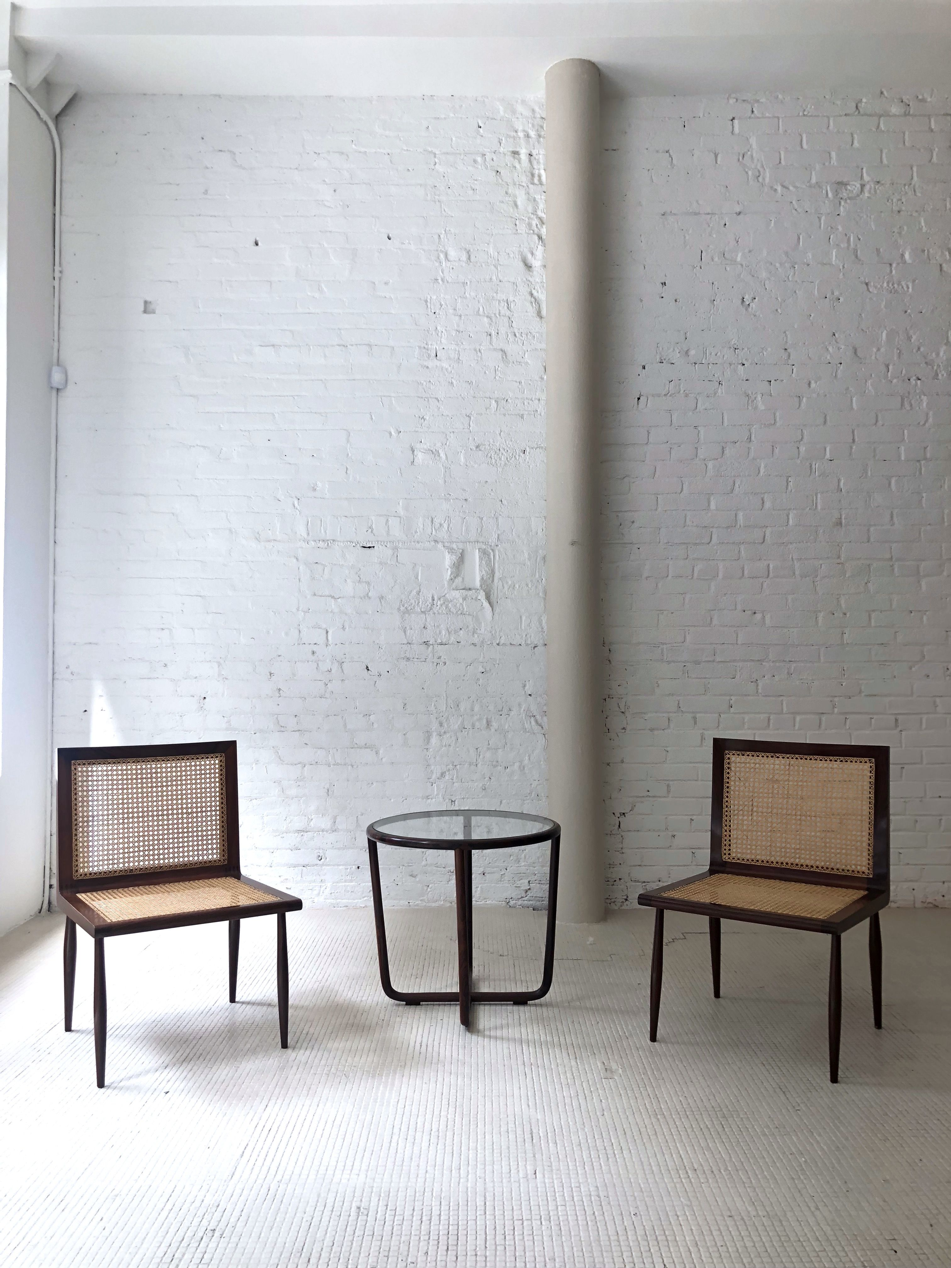 Vintage Low Bedroom chairs and side table by Joaquim Tenreiro