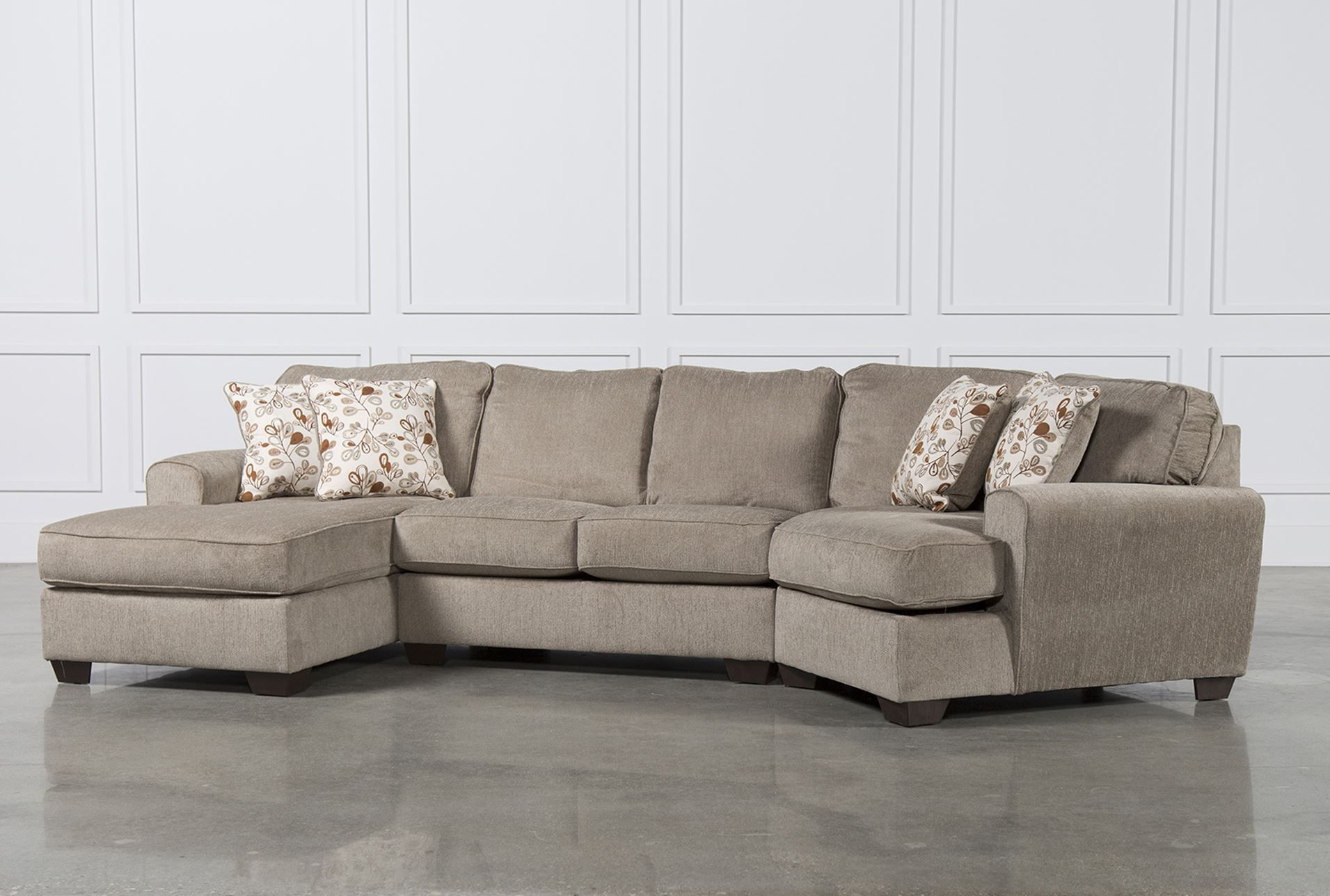 Katisha 30500-16-34-75 3-Piece Fabric Sectional Sofa with Left Chaise Armless Loveseat Right Cuddler and Accent Pillows Included in Platinum Color ... : shop sectional sofas - Sectionals, Sofas & Couches