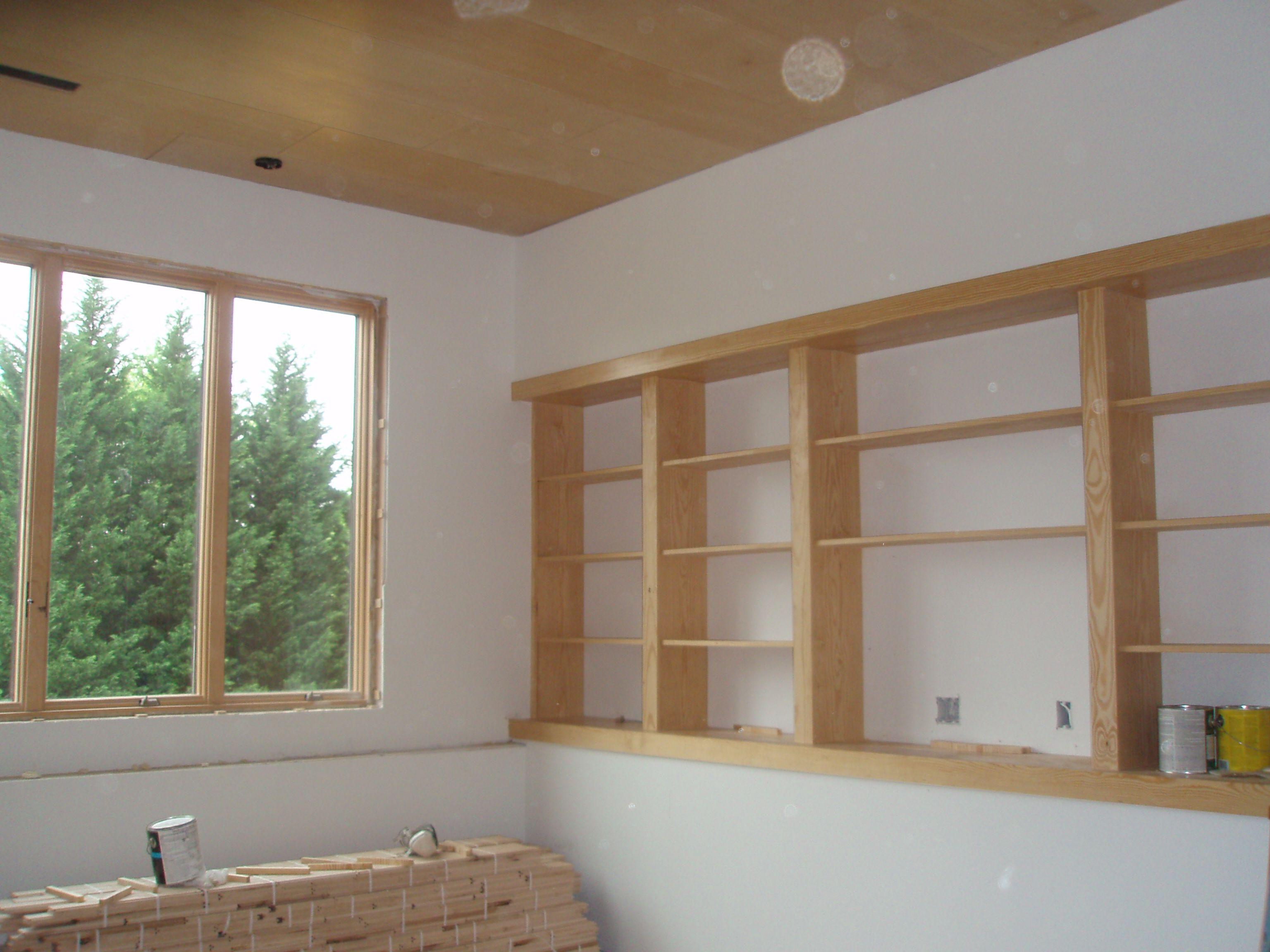Built In Shelves On Ledge Great Idea For Basement Basement Ideas