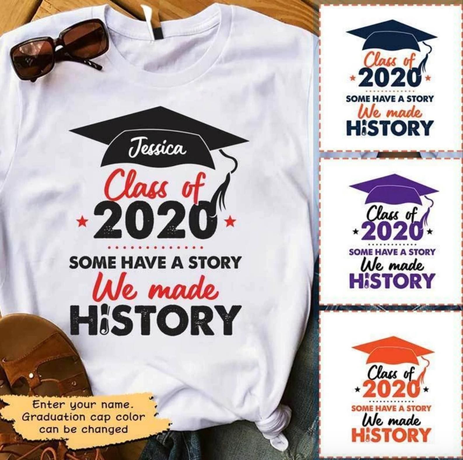 Personalized Custom 18 Colors T Shirt Class Of 2020 Some Etsy Graduation Shirts For Family Class Of 2020 Graduation Poster