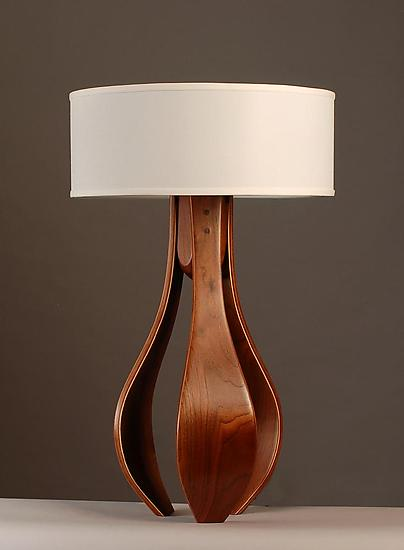 Chloe In Walnut With White Shade By Kyle Dallman Wood Table Lamp In 2020 Table Lamp Wood Table Lamp Wood Lamps