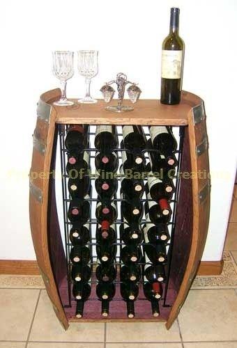 32 bottle wine barrel cabinet with metal wine rack for Barril mueble bar
