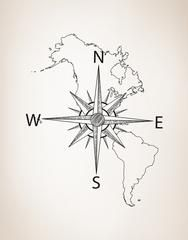 America Map With Compass.Decal 6018 Featuring North And South America Map With Compass