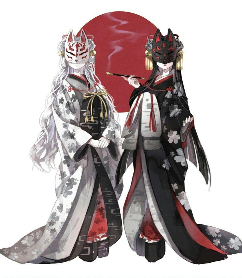Anime Characters Kimono : Japanese kitsune masks anime manga pinterest