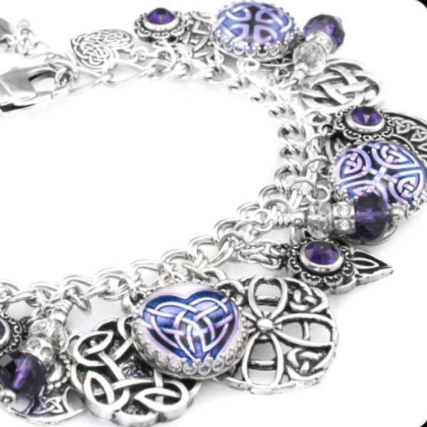 purple celtic charm bracelet crafts and jewelry