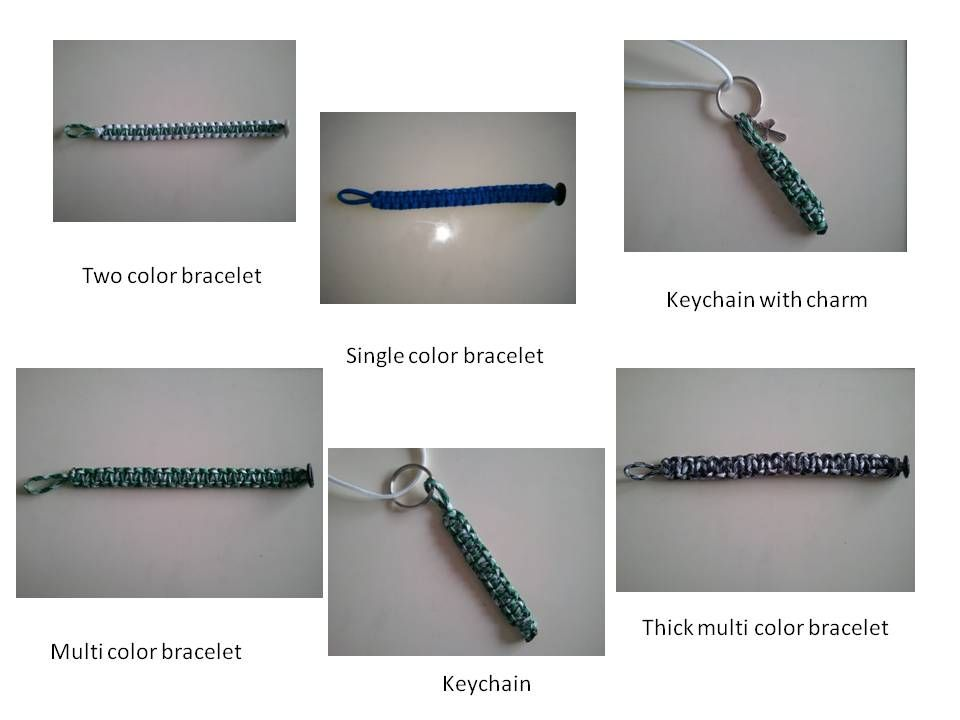 Parachute cord bracelets and keychains