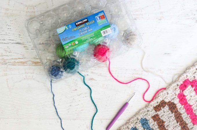 Inexpensive DIY Yarn Holders from Household Items
