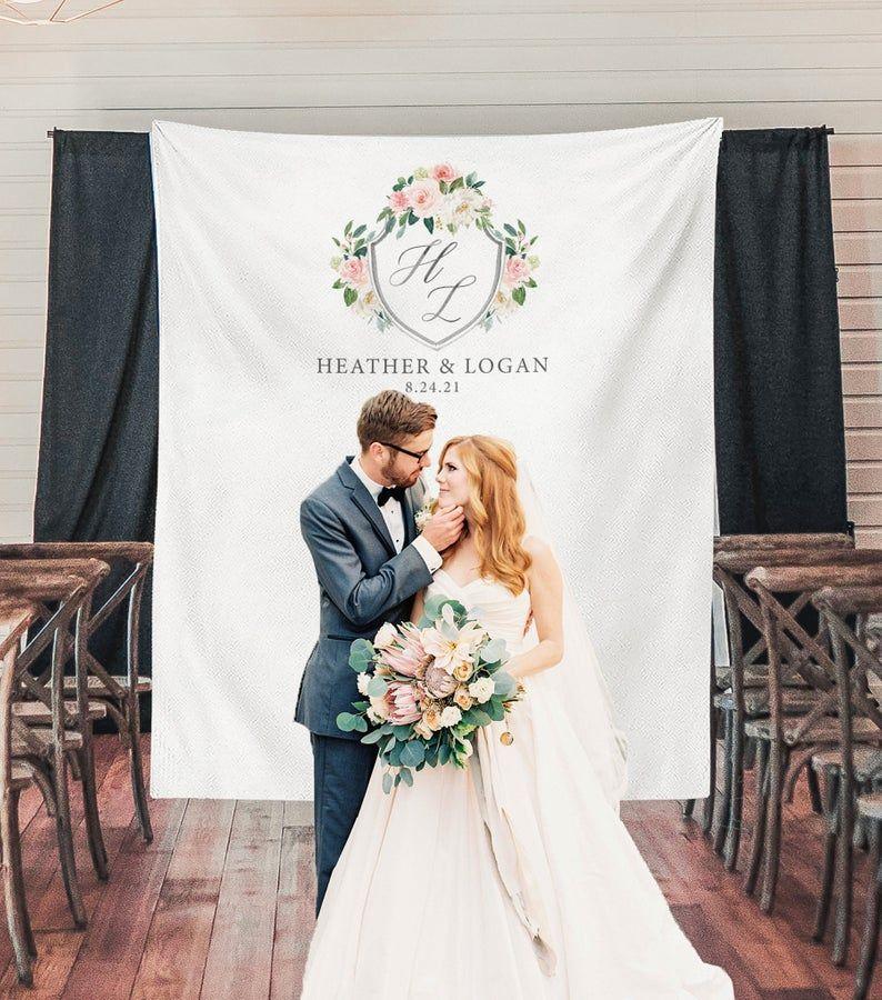 Wedding Backdrop with Monogram, Rustic Wedding Decor, Sweetheart ...