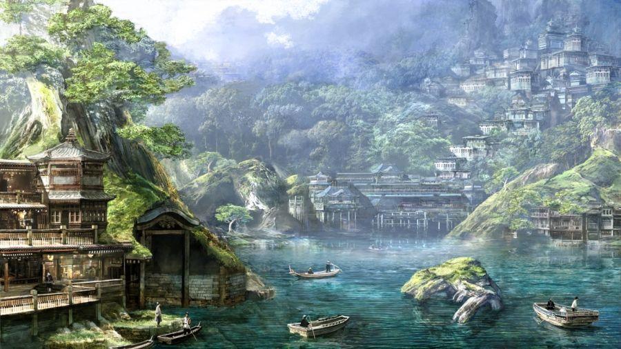 Landscape River Boats Fantasy Art Landscapes Fantasy Landscape Fantasy City