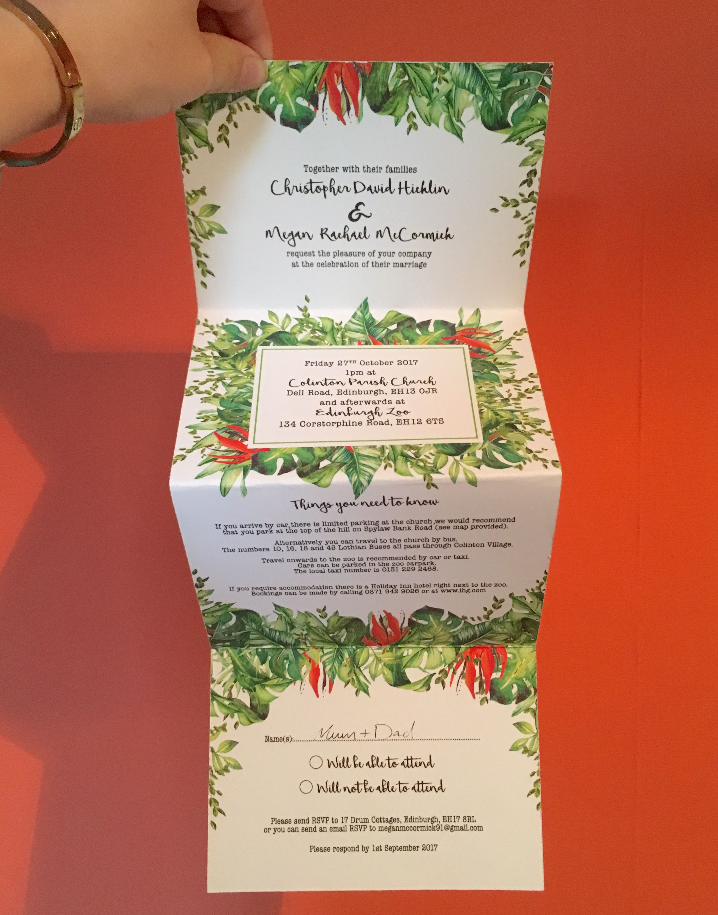 Our jungle themed wedding invites | Invitations | Pinterest | Wedding