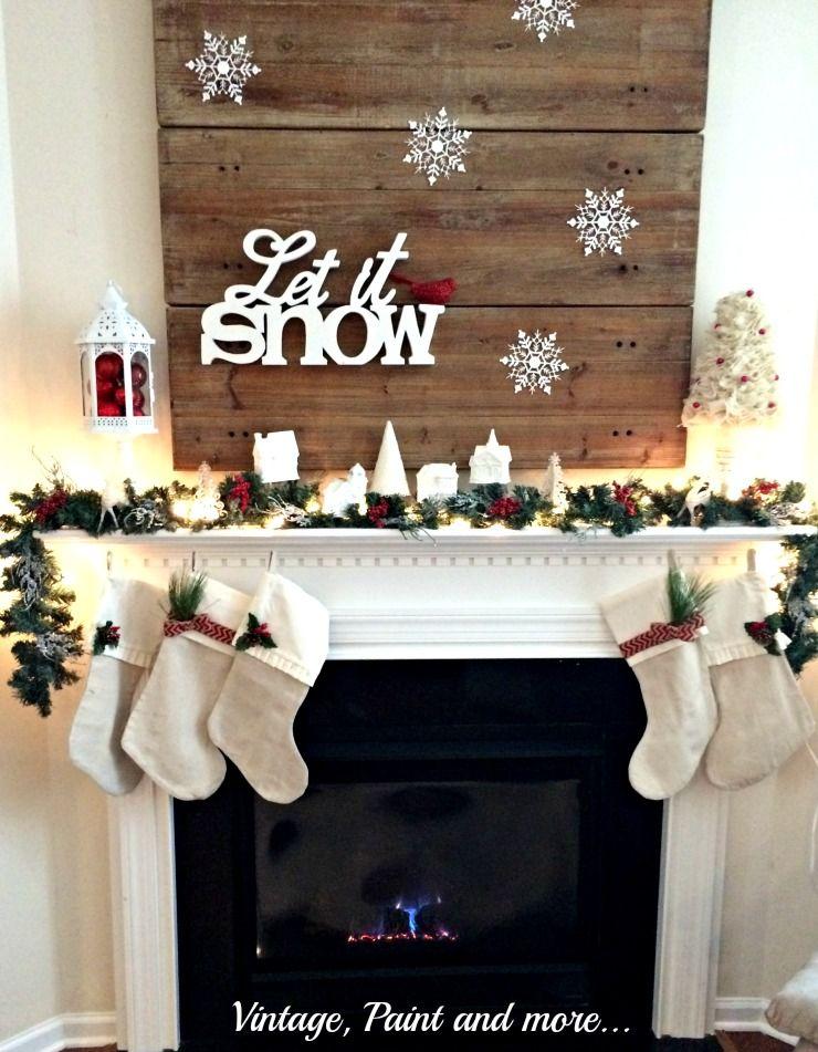 Let It Snow Mantel Christmas Decorations Christmas Mantels