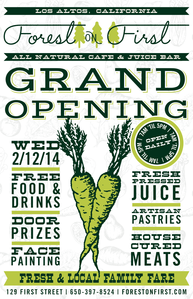 The grand opening flyer for our new cafe – Grand Opening Flyer