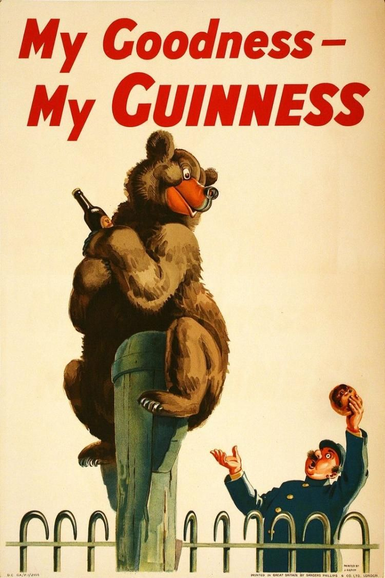 MY GOODNESS MY GUINNESS - BEAR ORIGINAL VINTAGE POSTER BY JO | Art ...