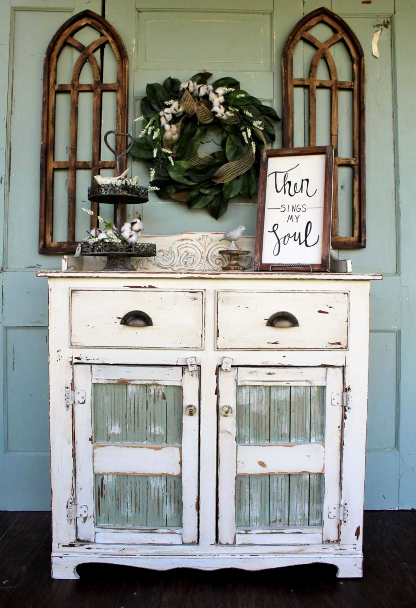 Stunning chippy farmhouse buffet table painted by nb restorations