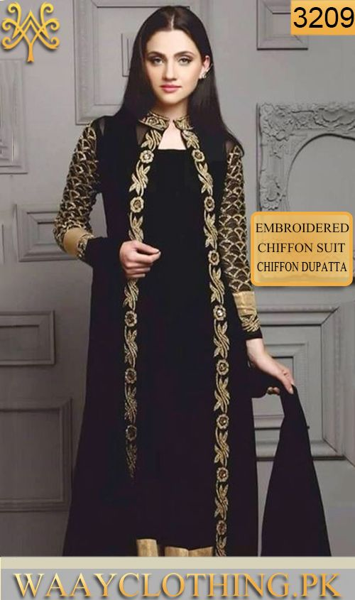 e613b24cfd WYYS-3209 - FULL EMBROIDERY Designer 3PC CHIFFON SUIT With CHIFFON DUPATTA  - PARTY WEAR DRESS For Orders Call/WhatsApp: 03-111-222-162