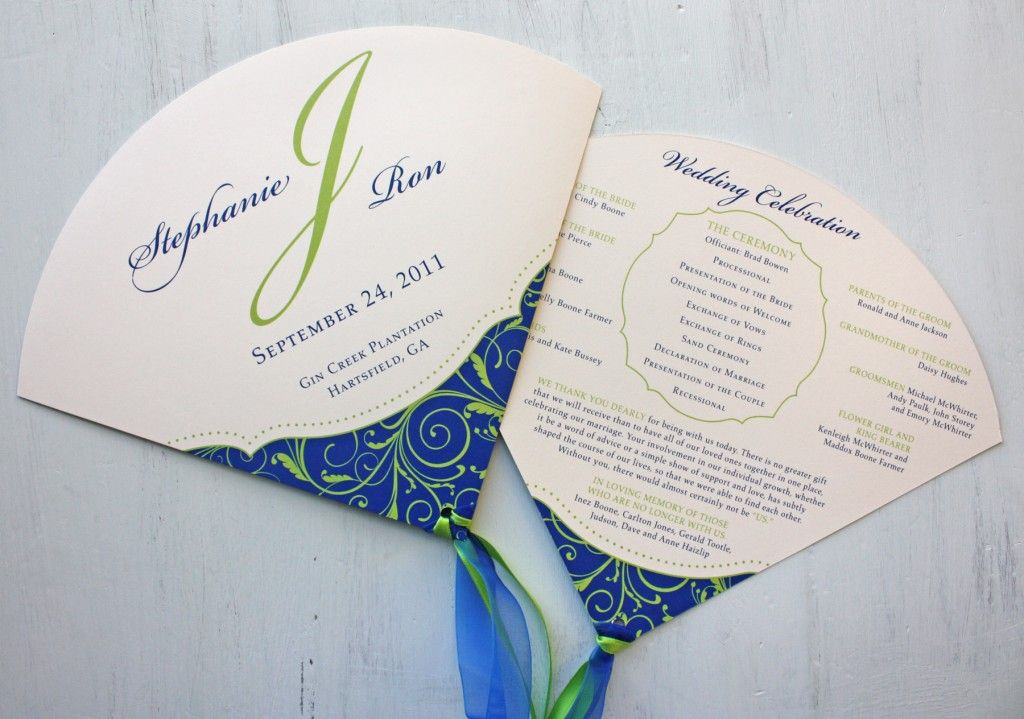 royal blue and apple green vine swirls with dots round wedding Wedding Invitation Blue And Green royal blue and apple green vine swirls with dots round wedding program fans with ribbon streamers wedding invitation blue and green