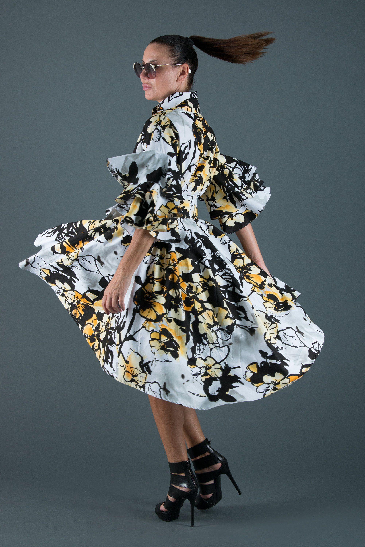 Summer cotton maxi dress for women yellow flowers dresses
