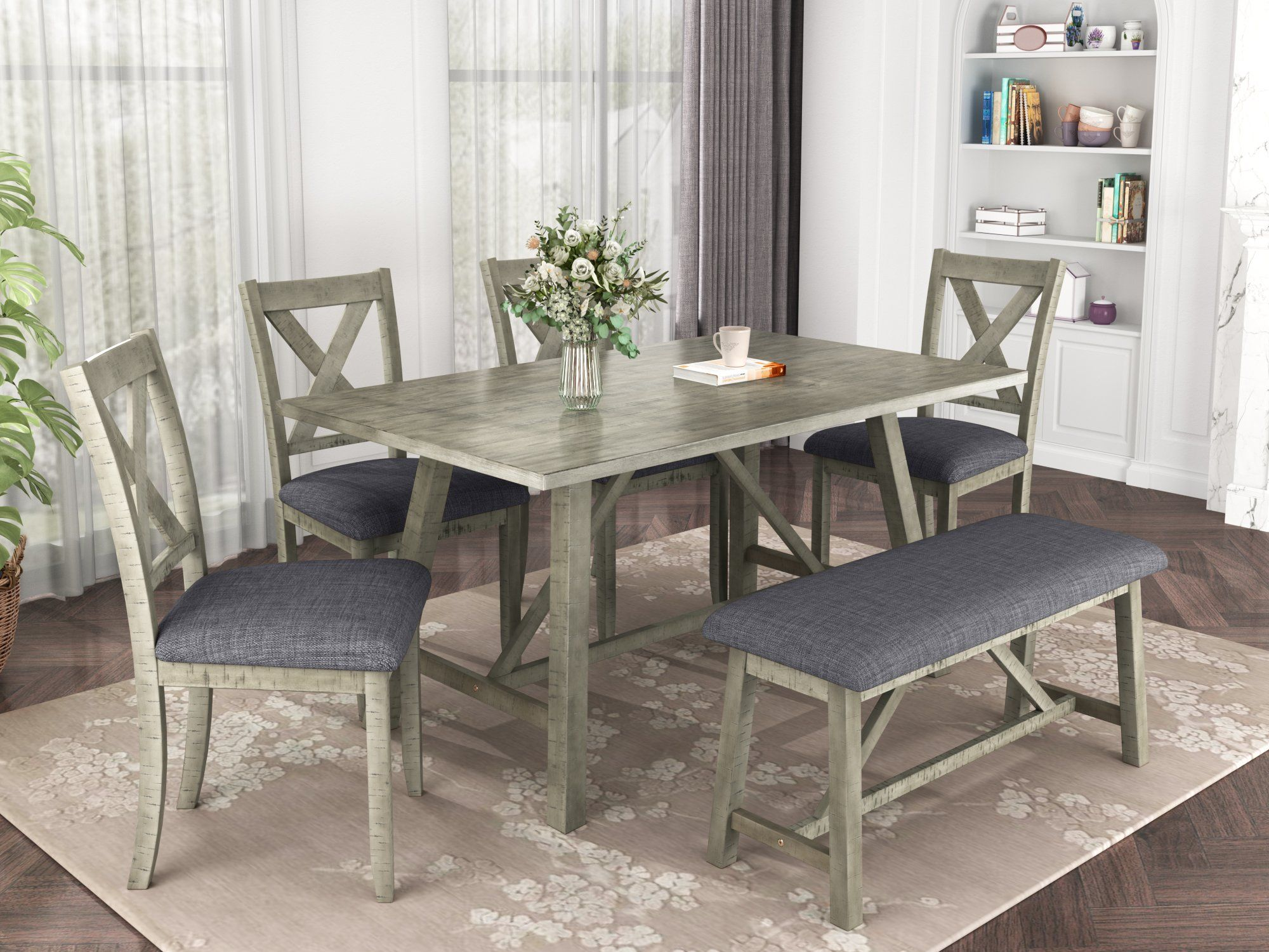 6 Piece Dining Table Set Wood Dining Table and chair Kitchen Table Set with Table, Bench and 4 Chairs, Rustic Style, Gray