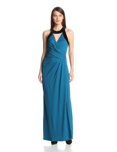 HALSTON HERITAGE Women's Short Sleeve V-Neck Faux Wrap Gown with Velvet Band