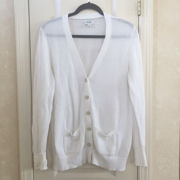 White V-Neck Cardigan | White cardigan, Navy sweaters and Navy