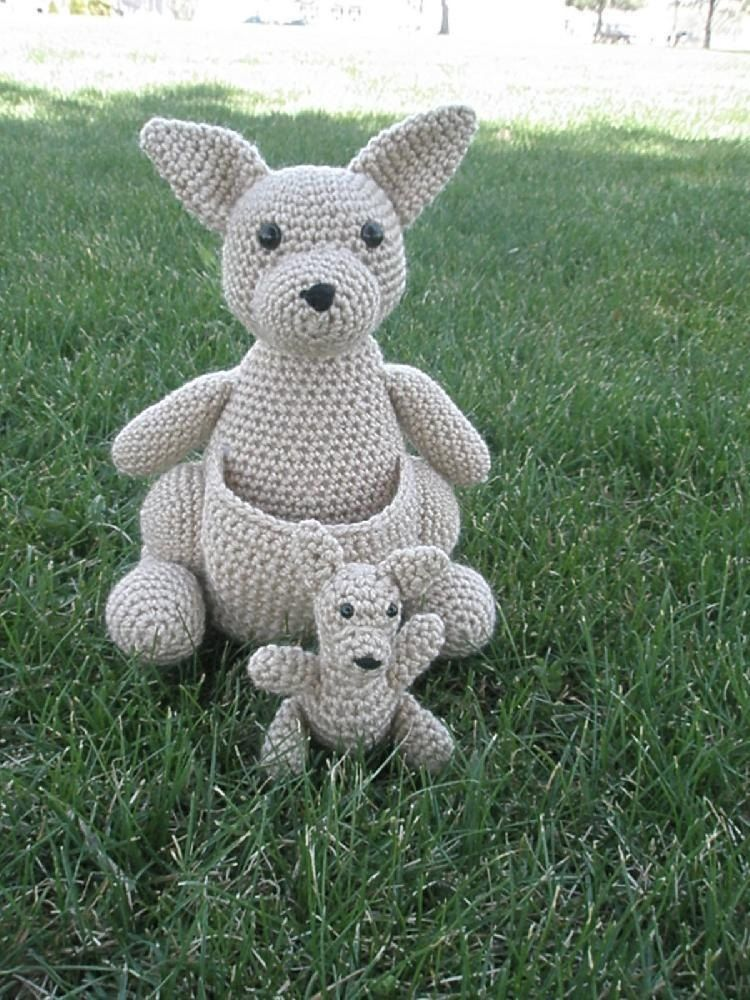 Mommy Kangaroo with a Baby Joey Crochet pattern by Tammy Mehring