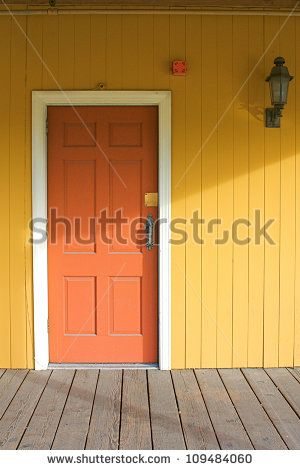 yellow house with red door - stock photo | Paint colors | Pinterest ...