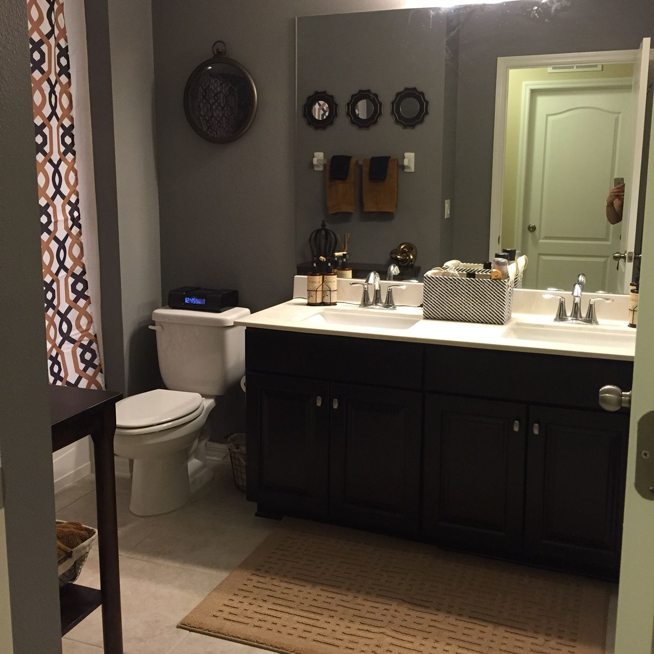 Gray Bathrooms With Accent Color: Sherwin Williams Dovetail Grey Walls