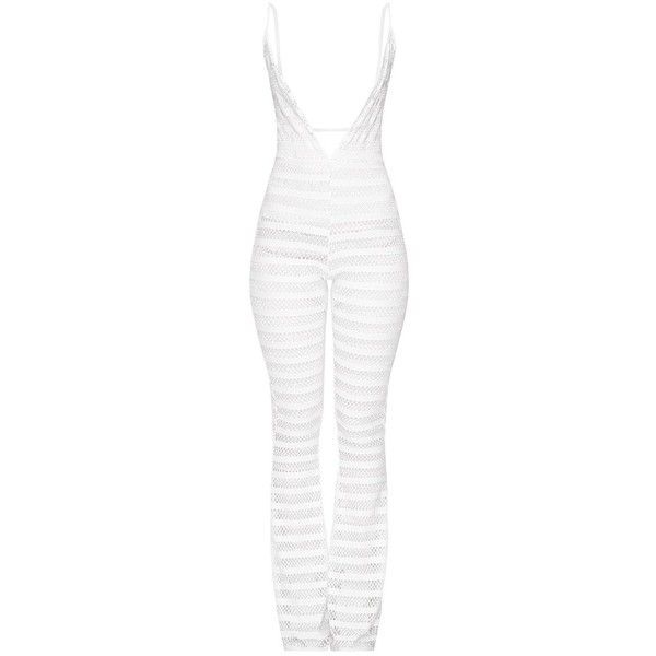 White Knitted Plunge Wide Leg Jumpsuit ❤ liked on Polyvore featuring jumpsuits, white jumpsuit, wide leg jumpsuit, white wide leg jumpsuit, plunge jumpsuit and jump suit