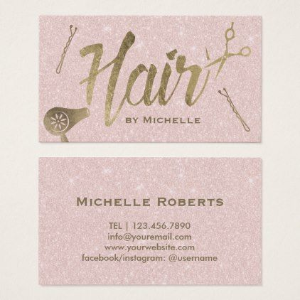 Hair stylist gold typography blush pink glitter business card hair hair stylist gold typography blush pink glitter business card hair salon gifts customize personalize ideas colourmoves